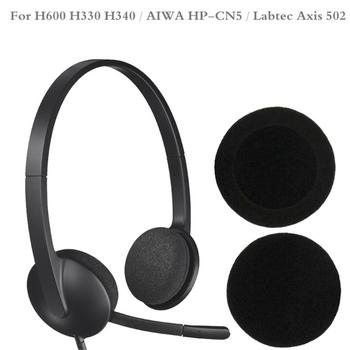 5 Pairs 60mm/2.4 Replacement Foam Earpads Cushion For Logitech- H600 H330 H340/Aiwa HP-CN5/Labtec Axis 502 headset Black image