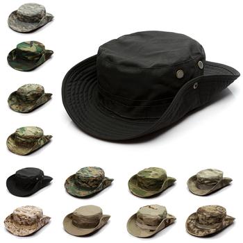 Kamuflaż czapka taktyczna wojskowy Boonie kapelusz US Army czapki Camo mężczyźni Outdoor Sports słońce kapelusz wędkarski wędkarstwo piesze wycieczki polowanie kapelusze 60CM tanie i dobre opinie Sfit CN (pochodzenie) Spring Summer Autumn Unisex Novelty 35 Cotton 65 Polyester Camouflage Bucket Boonie Hats Perspiration Moisture-wicking Anti-slip Quick Dry