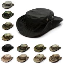Kamuflaż czapka taktyczna wojskowy Boonie kapelusz US Army czapki Camo mężczyźni Outdoor Sports słońce kapelusz wędkarski wędkarstwo piesze wycieczki polowanie kapelusze 60CM tanie tanio Sfit CN (pochodzenie) Spring Summer Autumn Unisex Novelty 35 Cotton 65 Polyester Camouflage Bucket Boonie Hats Perspiration Moisture-wicking Anti-slip Quick Dry