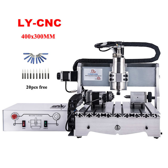 CNC router 4030 engraving milling machine woodworking 4axis 3axis usb port 2200w kit parts for drilling metal with Mach3 control