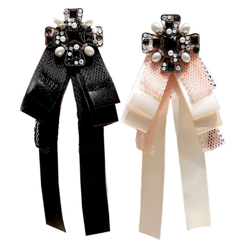 Office Ladies Lace Satin Ribbon Bow Brooch Pin Rhinestone Cross Collar Necktie