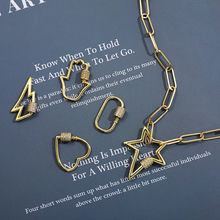 Punk Chunky Link Chain Necklace for Women Charm CZ Zircon Gold Lock Spiral Carabiner Star lightning Pendant Statement Necklace
