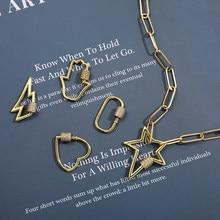 Punk Chunky enlace cadena Collar para las mujeres encanto CZ Zircon cerradura de oro en espiral mosquetón estrella rayo colgante del collar de la Declaración