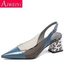 Women Genuine Leather High Heels Pointed Toe Clear PVC Sexy Women High Heel Shoes Sling Back Women Pumps Kitten Heels Footwear