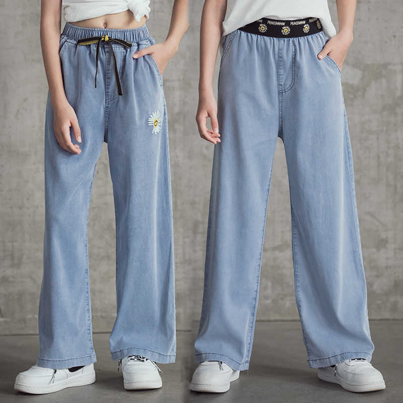 Pantalones Vaqueros Para Chicas Adolescentes Moda Informal De Verano Tencel Azul Pantalones Anchos Pantalones Escolares 6 8 10 12 Anos 2020 Pantalones Aliexpress