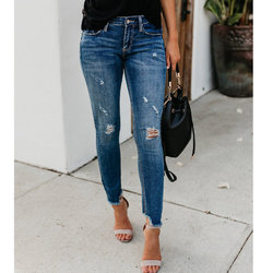 new style 2020 ladies solid jean fashion popular sexy ripped club jeans 857