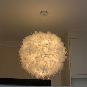 Image 4 - Lámpara de techo de plumas, creativa, moderna, Blanca, para dormitorio, estudio, colgante, dormitorio, sala de estar