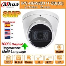 Original dahua ipc IPC HDW2831T ZS S2 câmera ip 5x zoom câmera hd 8mp ip67 com cartão sd ir 40m h.265 para segurança multi idioma