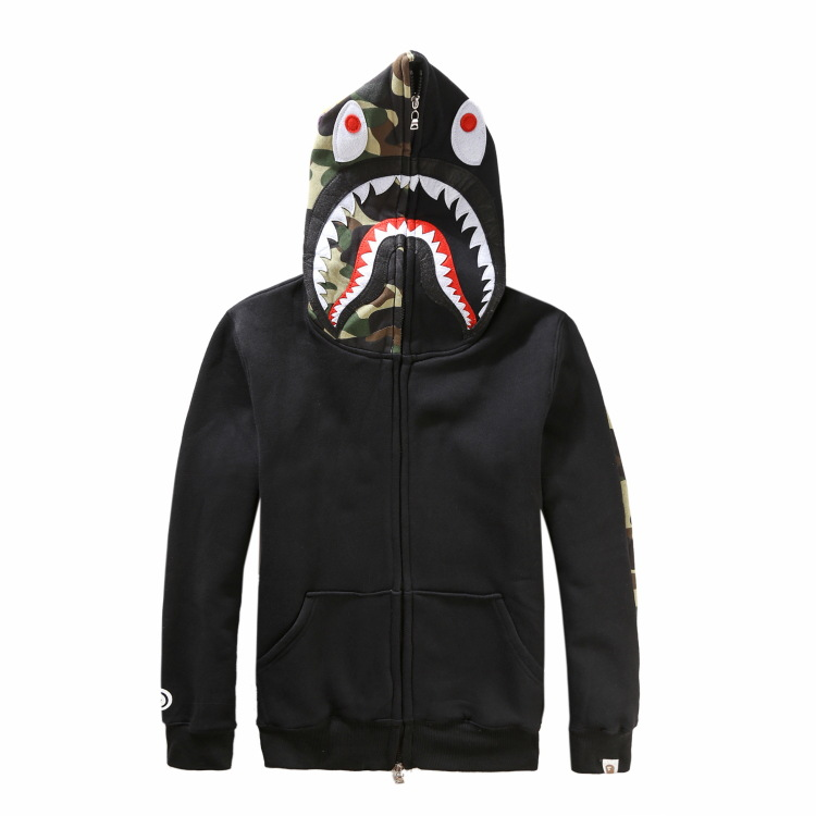 Autumn And Winter Popular Brand Ferocious Shark Head Embroidery Men Plus Velvet Hoodie Men And Women Couple Clothes Hooded Coat