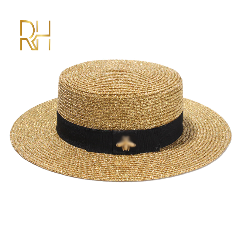 Ladies Sun Fedora Hats Small Bee Straw Hat European and American Retro Gold Braided Hat Female Sunshade Flat Cap Visors Hats RH