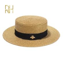 女性日fedoraの帽子小蜂わら帽子ヨーロッパとアメリカのレトロなゴールド編組帽子女性サンシェードフラットキャップバイザー帽子rh