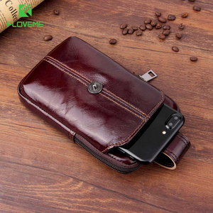 "Image 1 - FLOVEME Genuine Leather Wallet Case For iPhone 11 First Layer Waist Phone Bag For iPhone 7 11 Pro X XR 6/6S/7/8 Plus 6.3"" Inch"