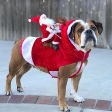 Рождественская Одежда для собак Санта-Клаус, костюмы для собак с оленем, забавная Одежда для собак, одежда для верховой езды, праздничная вечеринка, одежда для собак