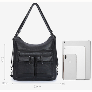 Image 3 - Kadın yıkanmış PU deri seyahat sırt çantası kadın sırt çantası okul omuz el çantaları kadınlar için 2020 sırt çantası Mochilas ana kesesi