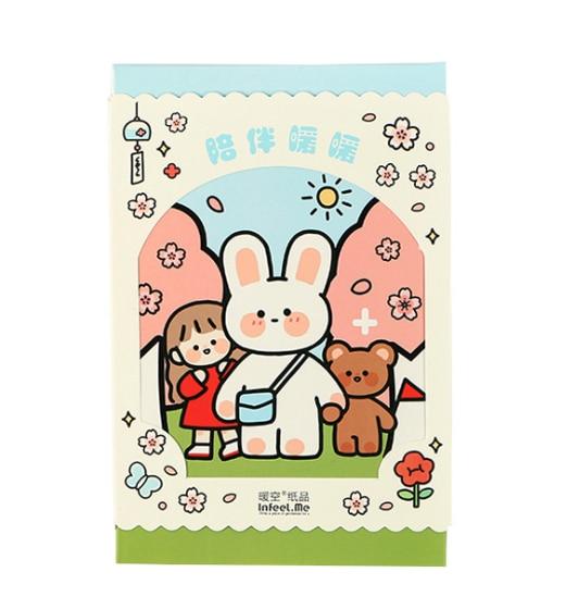 Warm Rabbit Paper Postcard(1pack=30pieces)