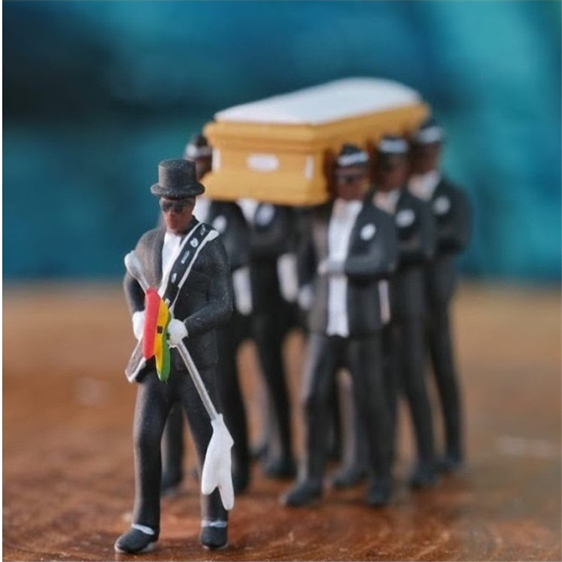 Cosplay Ghana Dancing Pallbearers Coffin Dance <font><b>Figure</b></font> Action Funeral Dancing Team Display Funny Accessories Toy for boy image