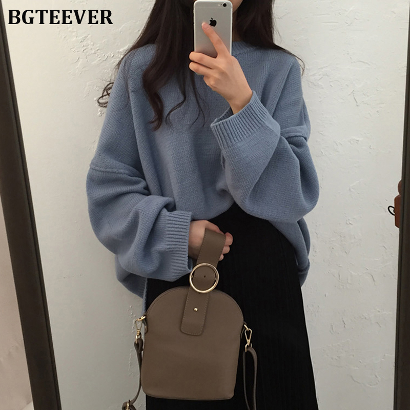 BGTEEVER Vintage Loose Thicken Women Sweater Autumn Winter Sweater O-neck Female Pullovers Jumpers Knit Tops Femme 2019