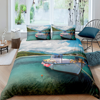 Speed Boat Bedding Set King Size Beautiful Lake Duvet Cover 3D High End Queen Twin Full Single Double Unique Design Bed Set