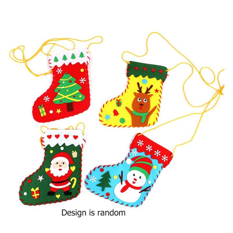 Kindergarten Child DIY Christmas Sock Bag Cloth Home Ornament Party Decor Random Develop Children's Thinking Creativity