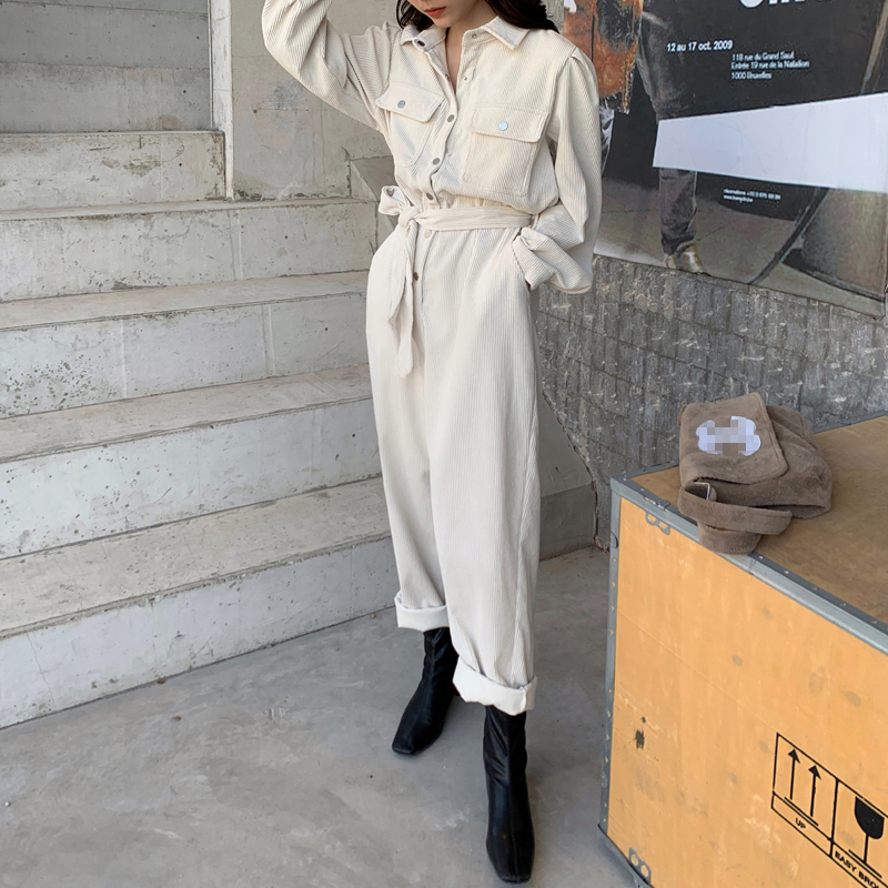 Alien Kitty Long Sleeve Lapel Jumpsuits Women High Waist Corduroy Rompers Womens Jumpsuit Overalls For Women Solid Lady Romper