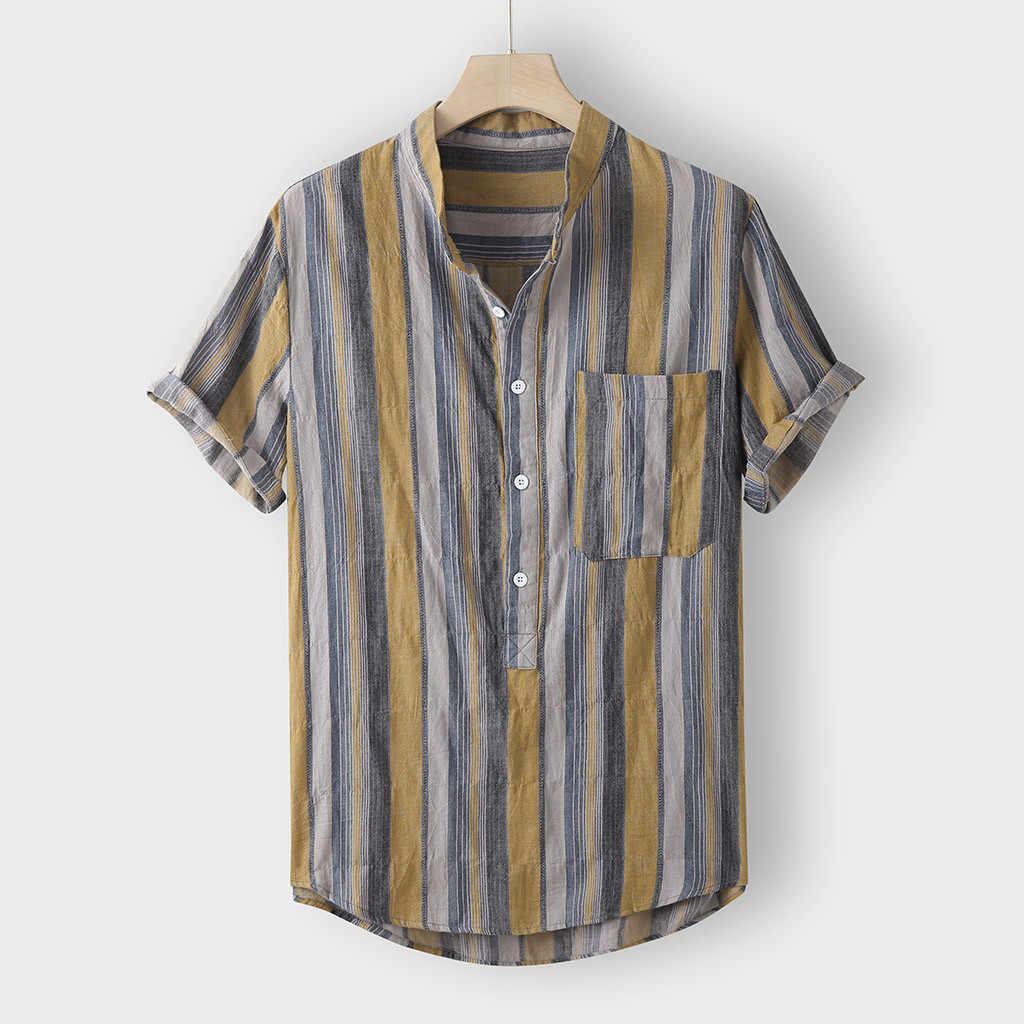 Etnische Mannelijke Tops Mannen Casual Shirts Korte Mouw Zomer Mode Shirts Casual Multicolor Gestreepte Strand Tops Losse Blouse Shirt