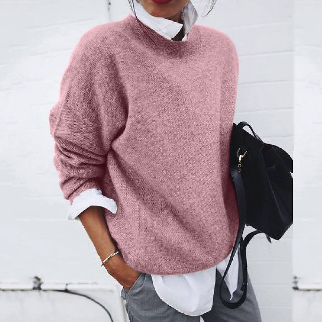 Plus Size Women Winter Solid Color Sweater Long Sleeve Fake Two Pieces Soft Handfeel Holiday Stylish Sweater Top Blouse