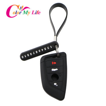 Silicone Car Key Cover Case Key Chain Phone Number Card Keychain for BMW X5 F15 X6 F16 G30 7 Series G11 X1 F48 F39 Accessories image