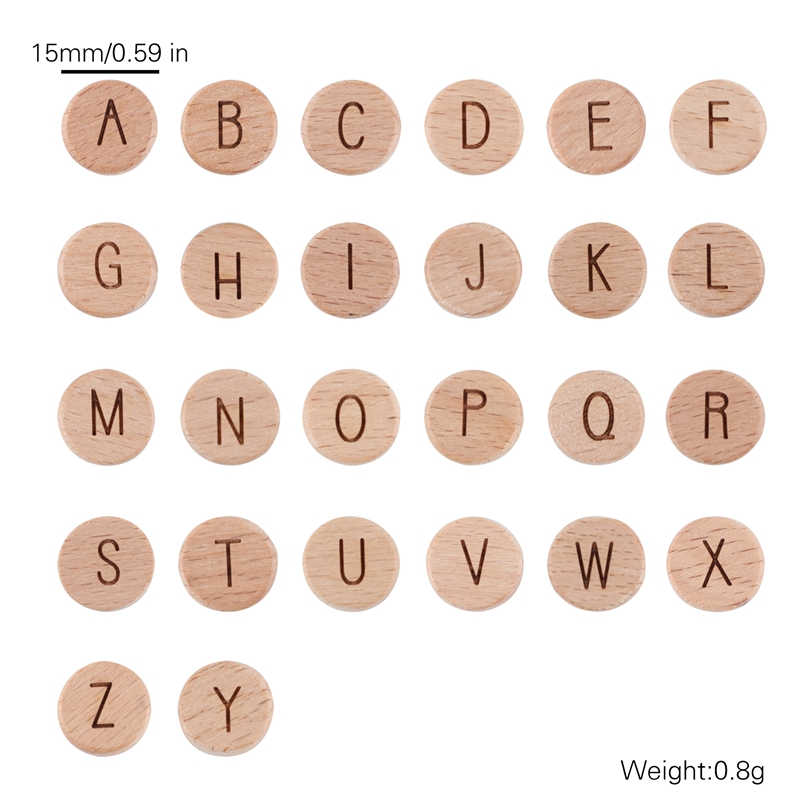 Let'S Make 200Pc Wholesale Wooden Teether Letter Wood Beads Beech Wooden Accessories For Paficier Chain Toys Baby Teether