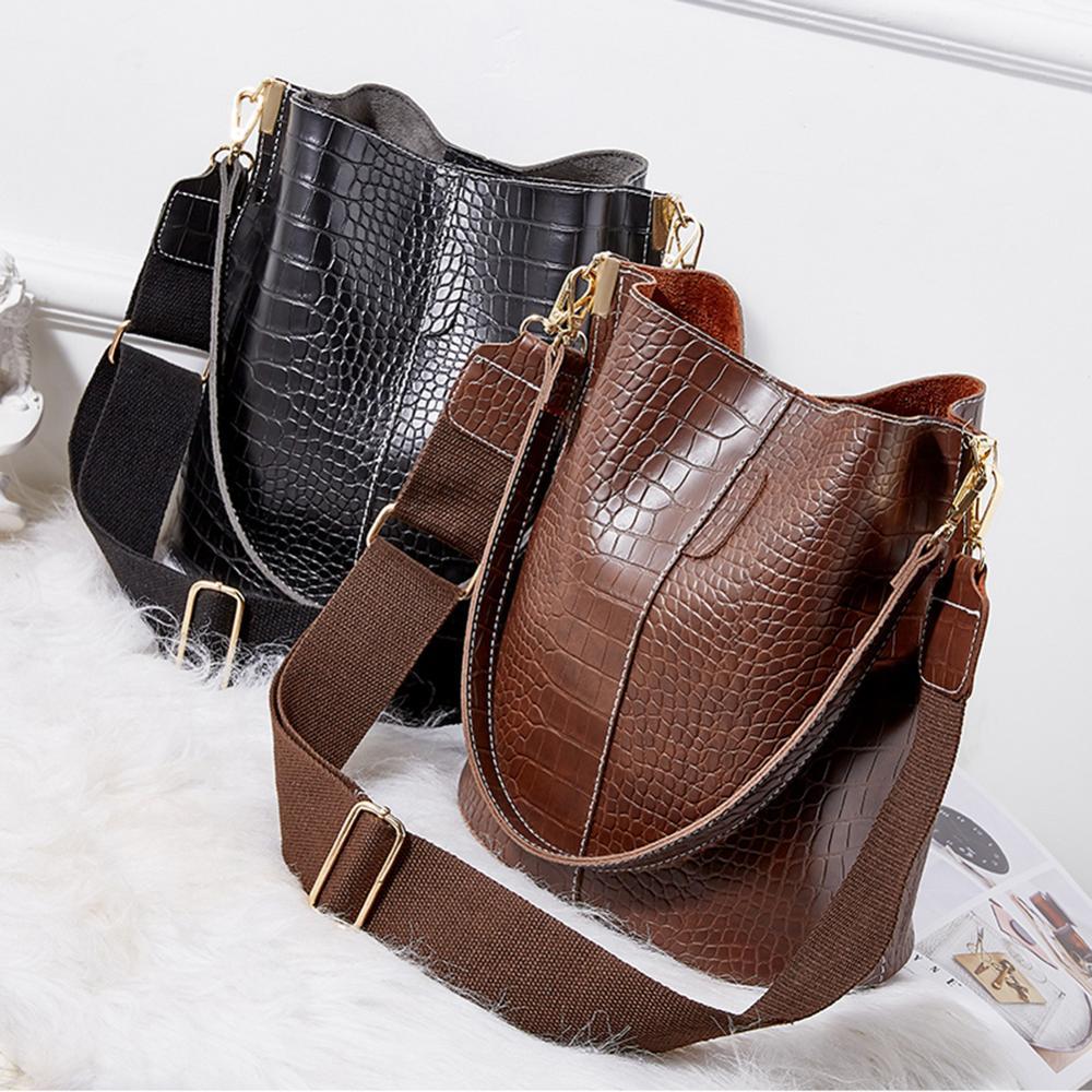 Классические Кожаные сумки через плечо для женщин, большие вместительные лоскутные модные сумки-ведро с крокодиловым узором, сумка-мессенд...
