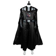 Filme darth cosplay vader traje preto uniforme terno macacão halloween traje de natal para homens festa de halloween conjunto completo