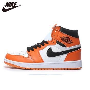 2020 NIke Air Jordan 1 męskie obuwie do koszykówki malina błyskawica pomarańczowy średni krój podświetlony Mans oryginalne CA3011-0278 tanie i dobre opinie VN (pochodzenie) Średnie (b m) Średni podkrój RUBBER Syntetyczny Formotion Lace-up Fall2017 Pasuje prawda na wymiar weź swój normalny rozmiar