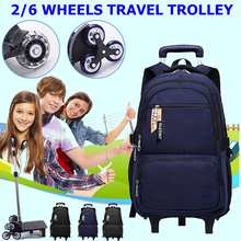 High-capacity Student Shoulder Backpack Rolling Luggage Children Trolley Suitcases 2/6 Wheel Cabin Travel Duffle School Bag