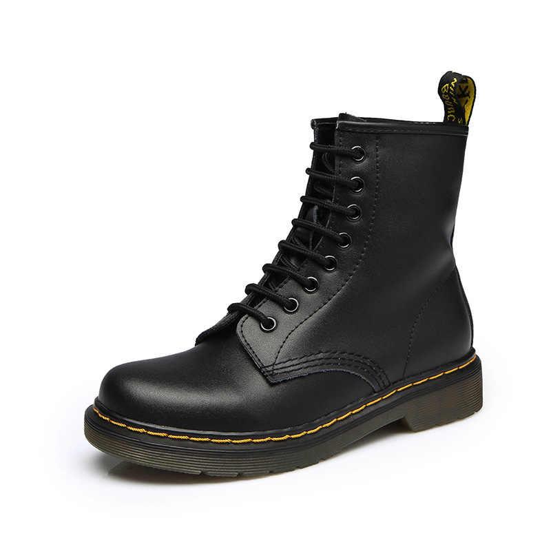 2019 yeni kadın erkek hakiki deri çizmeler kış çift yarım çizmeler rahat Lace Up bayanlar moda ayakkabılar siyah Botas Mujer