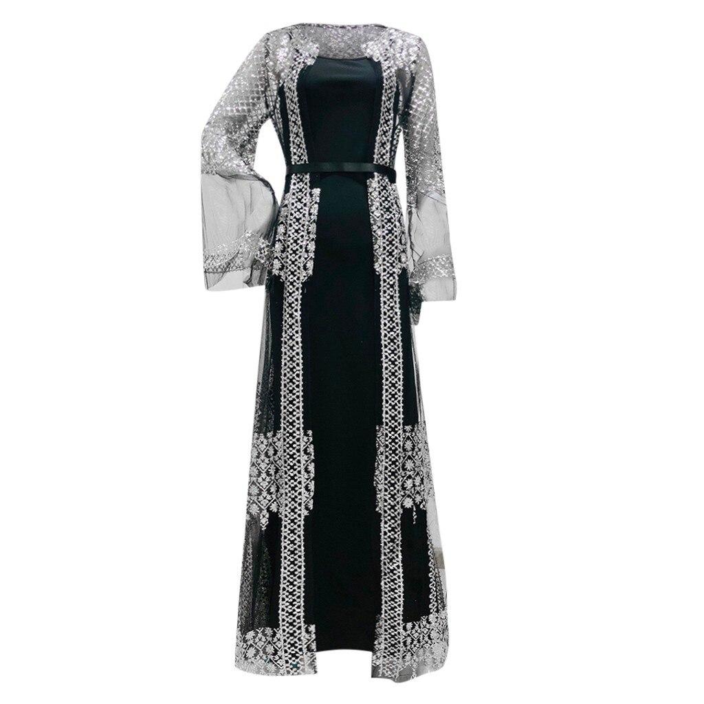 Dubai Abayavestido de lujo para mujer, vestido Maxi negro de lujo con lentejuelas encaje bordado Kaftan islmico Kimono 2021