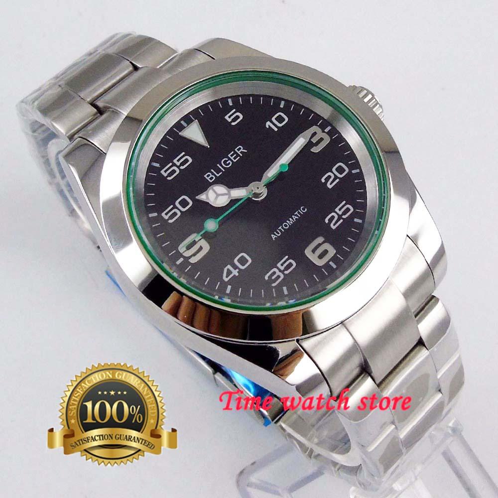 New polish 40mm Bliger Miyota mechanical wrist watch men waterproof stainless steel black dial luminous date sapphire bezel 180|Mechanical Watches| |  - title=
