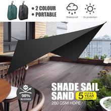 Yeahmart 1 Set Black Portable Sun Shade Sail Awning Waterproof Outdoor Shade Garden Patio Car Sunscreen Awning Canopy UV Block