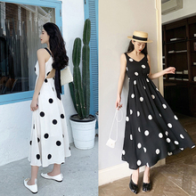 Spring and summer new style Mid-length backless dress Temperament wave point holiday