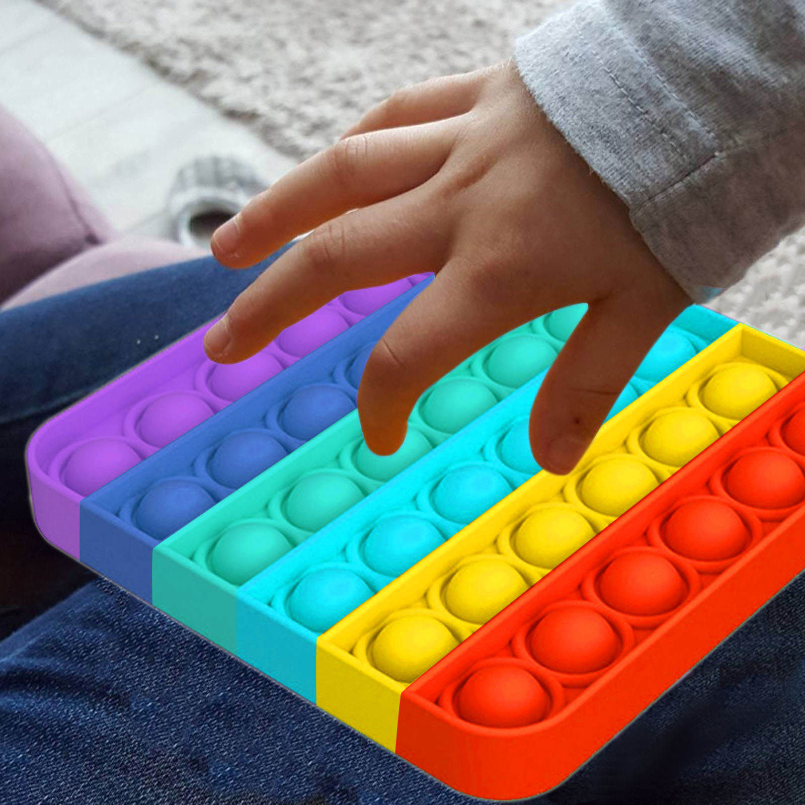 Fidget-Sensory-Toy Game-Stress Bubble Pops Squishy-Pops Rainbow-Push Relief Special Needs img4
