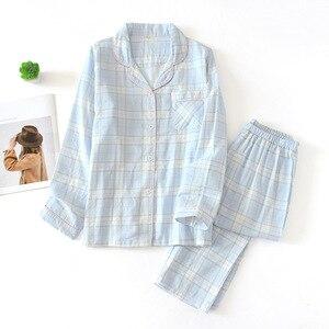 Image 5 - Tươi Kẻ Sọc 100% Gạc Cotton Người Yêu Pyjama Bộ Nam Nữ Thu Đông Dài Tay Nhật Bản Cổ Đồ Ngủ Nữ Pyjamas