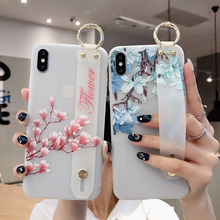For iPhone 11 Promax Case Luxury Flower Pattern Wrist Strap TPU Phone for 6 6s 7 8+ X XR Silicon Holder