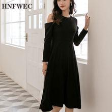 Женское платье туника с длинным рукавом черное ТРАПЕЦИЕВИДНОЕ