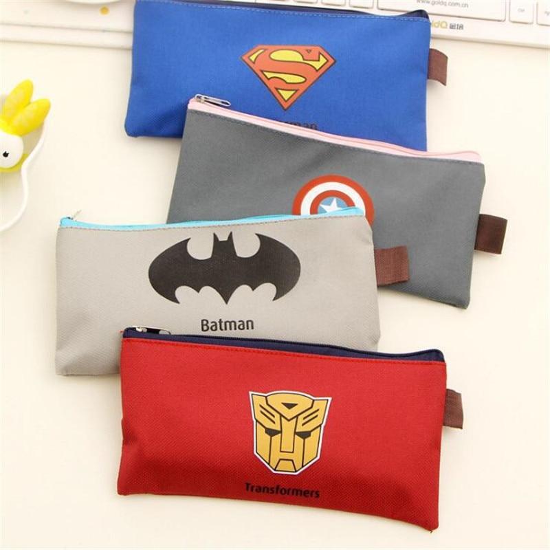 Kawaii Superhero Canvas Pencil Case Creative Cute Oxford Cloth Zipper Student Pencil Bag Office School Supplies Stationery Gift