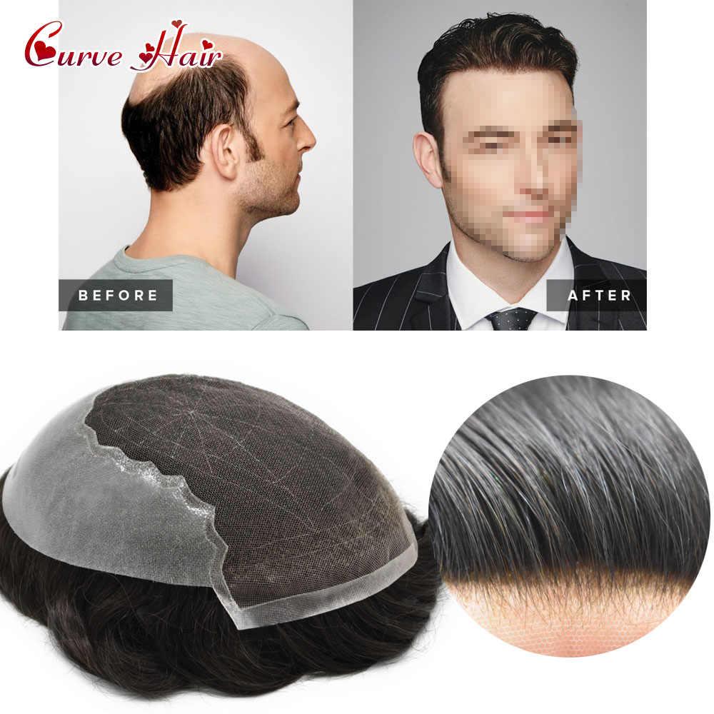 Spitze Toupet Haarteil Hand Gebunden Indien Remy Haar Männer System Alle Farbe 120% Dichte Gebleichte Knoten Französisch Spitze Haar Stück für Männer