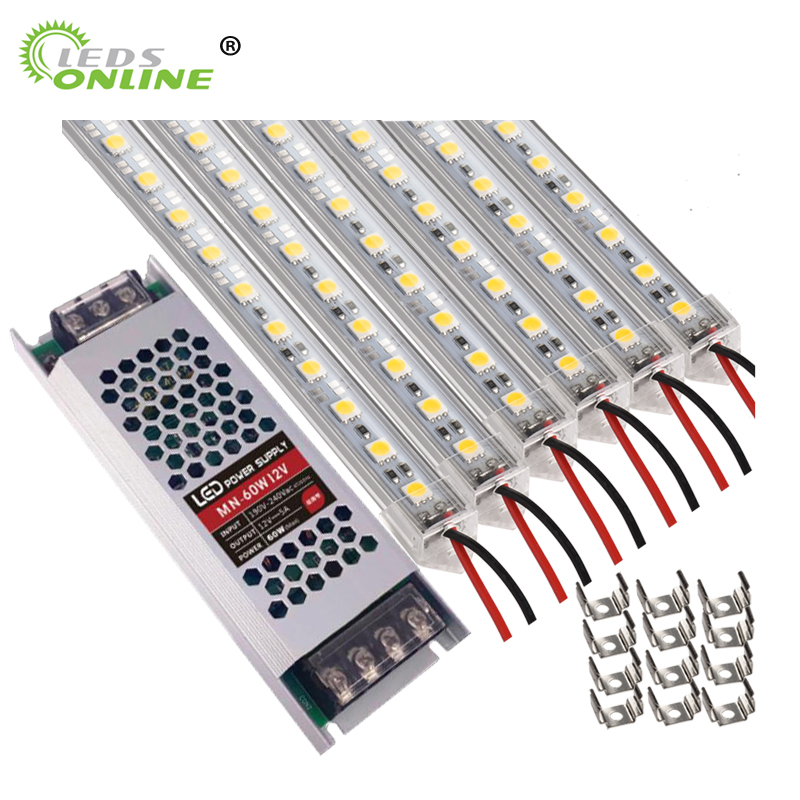 Whole Kit Led Bar Light 12v Aluminum Profile LED Strip Kitchen Light Extrusion With Pvc Transparent Cover Power Supply And Clips