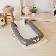 Portable Crib Baby Nest Bed for Boys Girls Travel Bed with Pillow Washable Cotton Travel Crib Cute Cartoon Printing YHM032