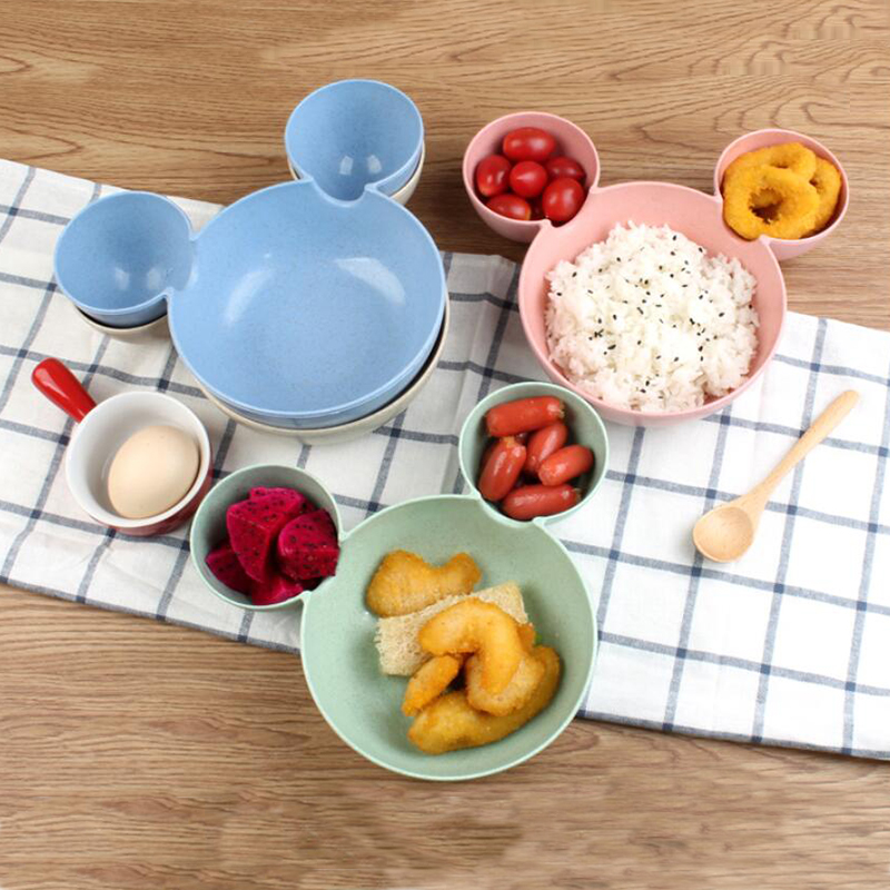 Baby Feeding Plate Cartoon Bowl And Spoon Training Dinnerware Infant Children Food Grade Eco-wheat Straw Baby Dishes Kids Plate