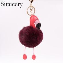 Sitaicery 2019 Llaveros Cute Keychain Flamingo Key Chain Fluffy Fake Rabbit Fur Ball Pompon Ring Small Pendant Women Trinket