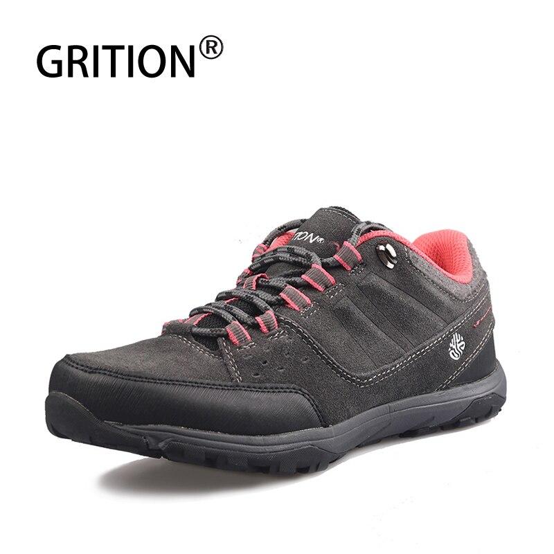 GRITION femmes bottes de randonnée imperméables mode vache daim chaussures à lacets dames escalade chaussures anti-dérapant taille basse gris rose nouveau