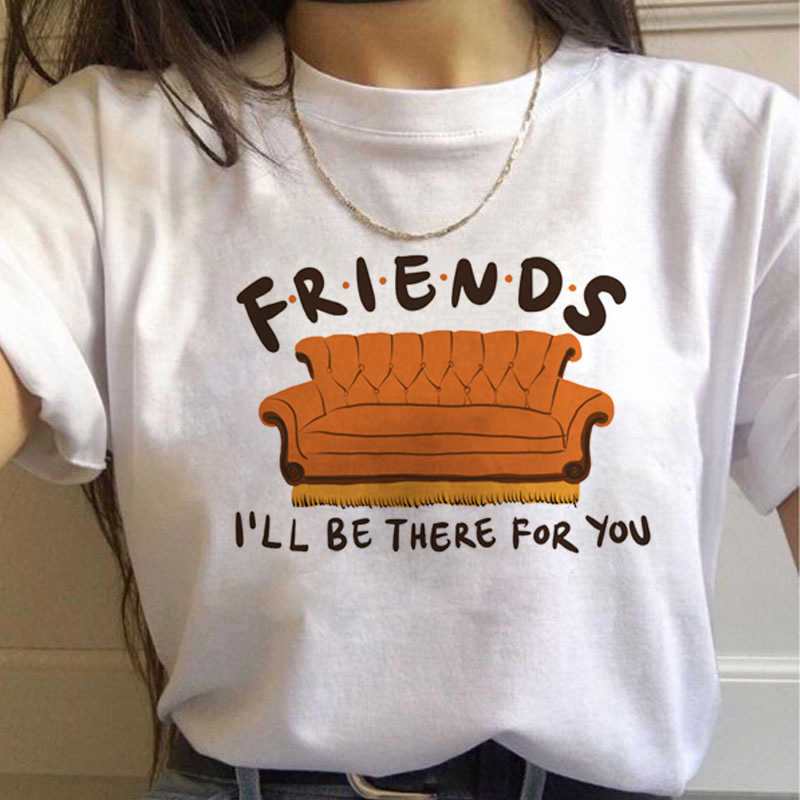 Friends Tv Show Harajuku T Shirt Women Ullzang Funny Print T-shirt Casual Vintage 90s Tshirt Graphic Best Friends Top Tee Female