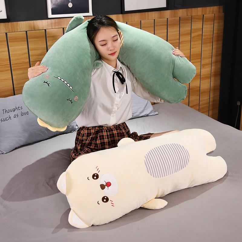 pig unicorn dinosaur sleeping body kawaii pillow long animal toy squishy soft standing washable liner boy girl toys for children